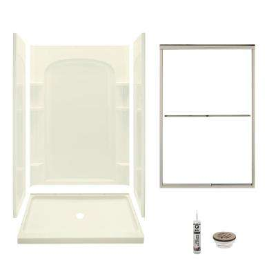 Ensemble 34 in. x 48 in. x 75.75 in. Center Drain Alcove Shower Kit in Biscuit and Brushed Nickel