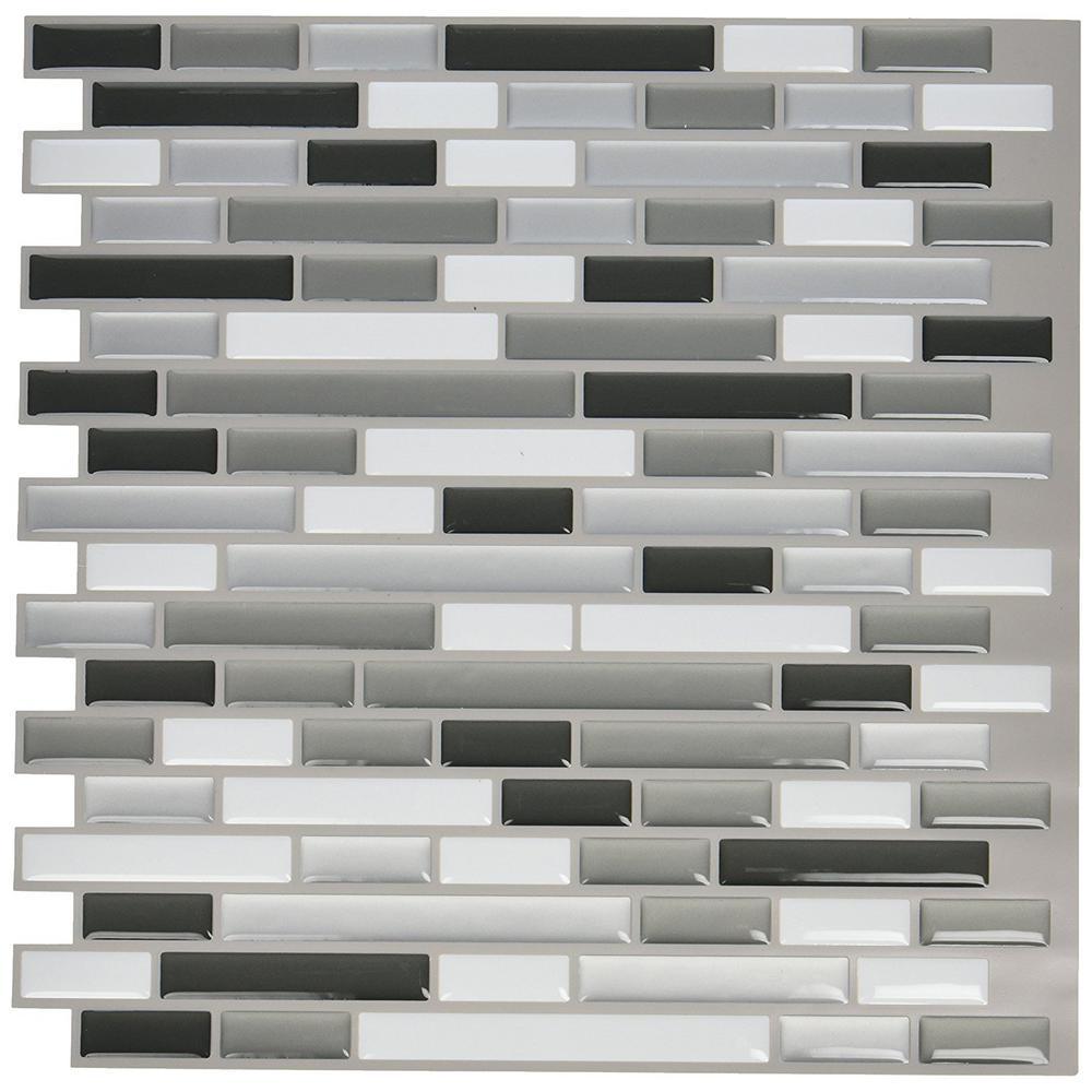 12. in x 12 in. Peel and Stick Vinyl Backsplash Tile in Grey (6-Pack)