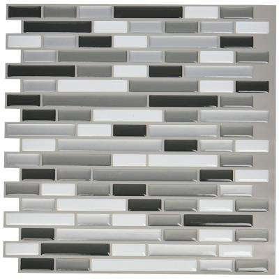 12. in x 12 in. Peel and Stick Vinyl Backsplash Tile in Grey (6-Pack)
