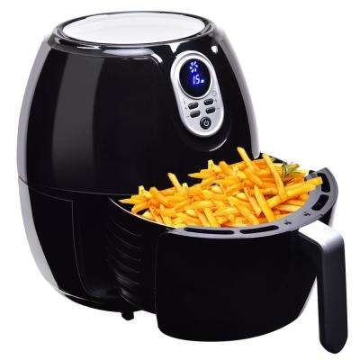 Timer Temperature Control Electric Air Fryer Digital LCD Screen in Black