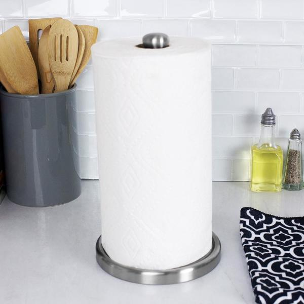 Easy Tear Brushed Stainless Steel Free-Standing Paper Towel Holder with Black