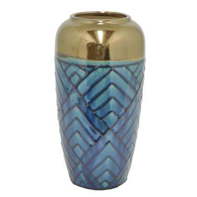 Blue and Gold Ceramic Decorative Vase with Glossy Finish