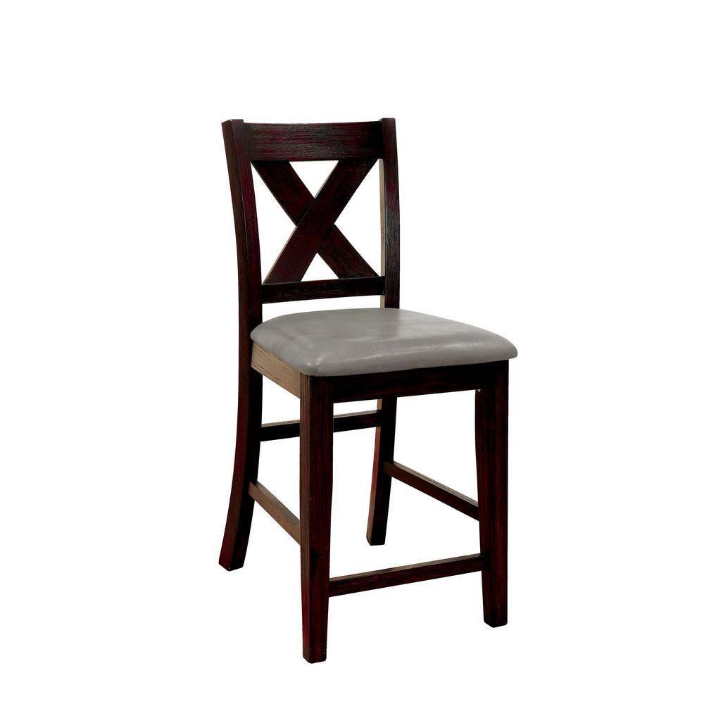 Lana Rustic Dark Walnut Style Counter Height Chair