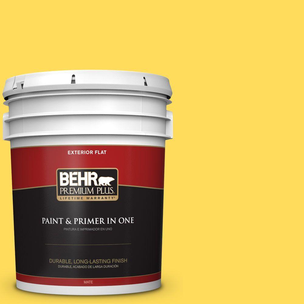 BEHR Premium Plus 5-gal. #380B-5 Neon Light Flat Exterior Paint