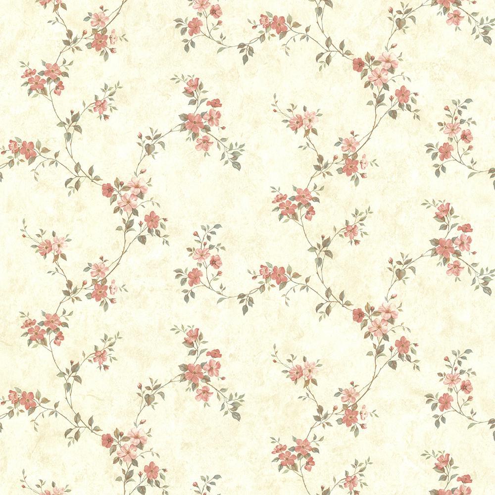 Rose Valley Pink Floral Trail Pink Wallpaper Sample