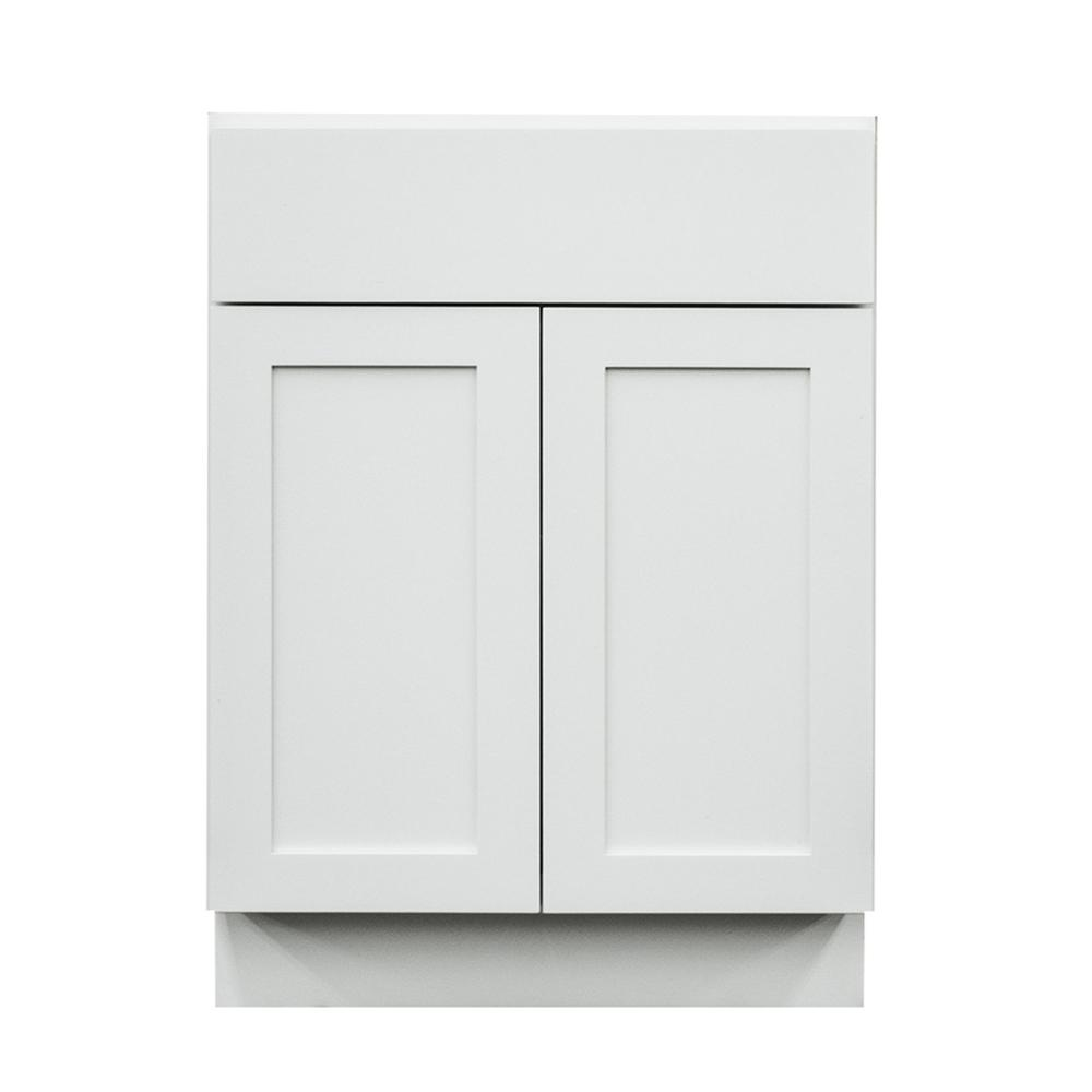 Krosswood Doors Frosted White Shaker II Ready to Assemble 27x33x21 in. 2 Door 1 Drawer  sc 1 st  Home Depot & Krosswood Doors Frosted White Shaker II Ready to Assemble 27x33x21 ...