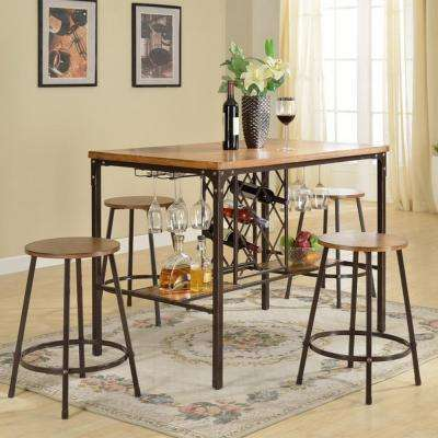 Vintner 5-Piece Black Metal and Natural Wood Pub Set