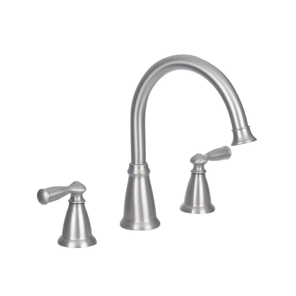 Banbury 2-Handle Deck-Mount High Arc Roman Tub Faucet with Valve in Spot Resist Brushed Nickel