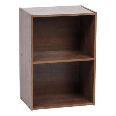 Brown 2-Tier Wood Storage Shelf