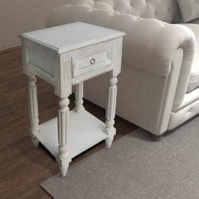 White Spacious Mango Wood Side Table with Metal Ring Handle