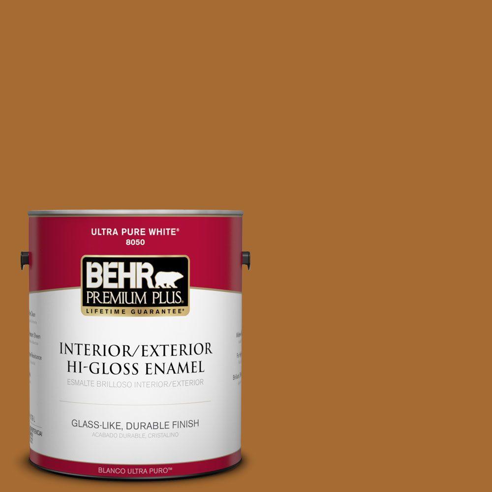 BEHR Premium Plus 1-gal. #280D-7 Sesame Crunch Hi-Gloss Enamel Interior/Exterior Paint