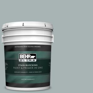 Behr Ultra 5 Gal 730f 4 Flint Smoke Semi Gloss Enamel Exterior Paint And Primer In One 585405 The Home Depot