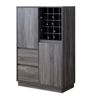Rectangular Gray Wooden Wine Cabinet with Spacious Storage and Finger Groove Handles