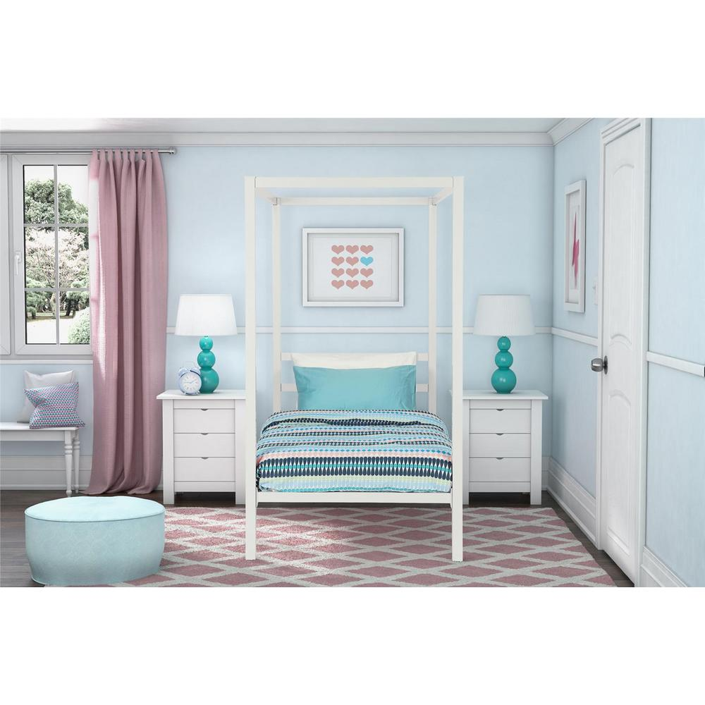 Modern Metal Canopy Twin Size Bed Frame in White