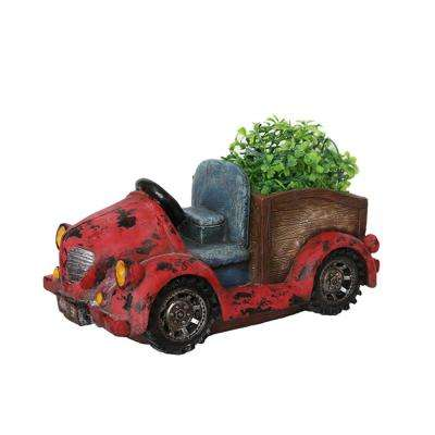 7.25 in. Distressed Red Vintage Car LED Lighted Solar Powered Outdoor Garden Patio Planter