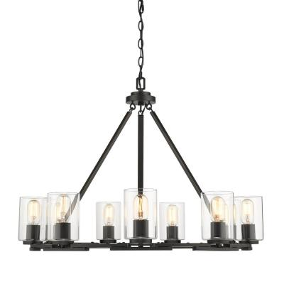 Monroe 9 Light Black with Clear Glass Chandelier