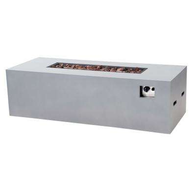 Aristotle 60 in. x 18 in. Rectangular Concrete Propane Fire Pit Table