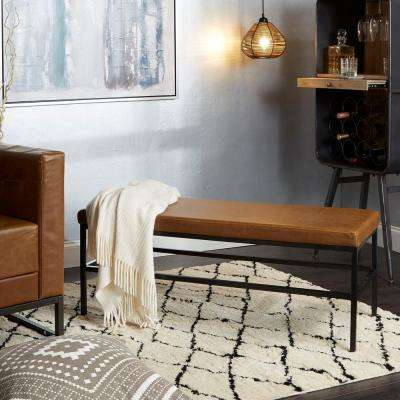 Shelby Brown Upholstered Square Metal Bench