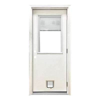 32 in. x 80 in. Classic Clear Mini-Blind LHOS White Primed Fiberglass Prehung Front Door with Small Cat Door