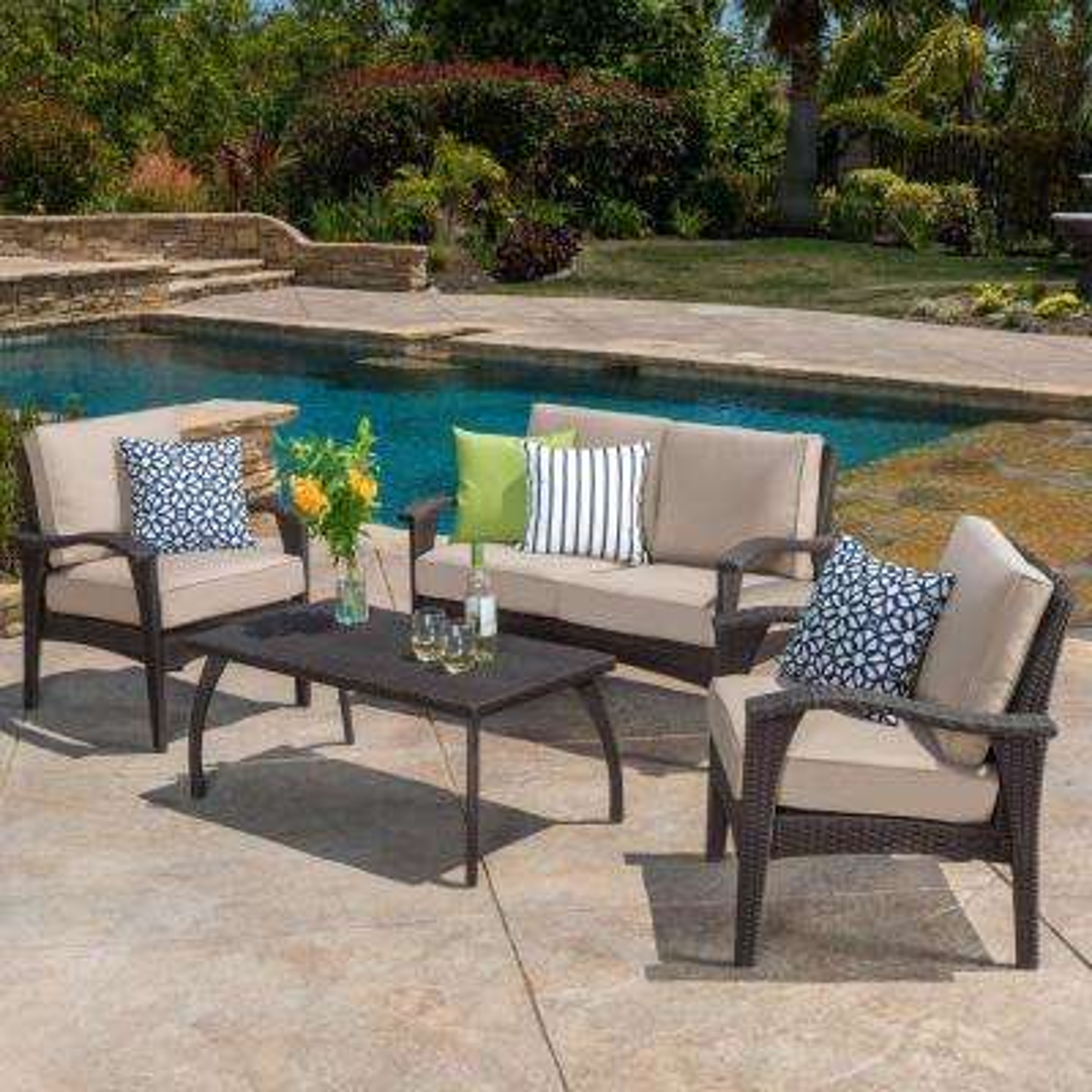Honolulu Brown 4-Piece Wicker Patio Conversation Set with Beige Cushions