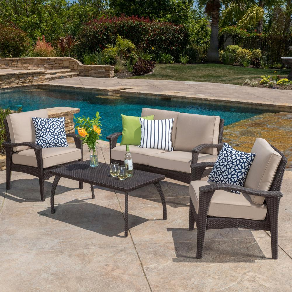 Noble House Honolulu Brown 4-Piece Wicker Patio Conversation Set with Beige Cushions