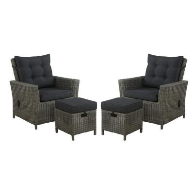 Asti 4-Piece All-Weather Wicker Outdoor Recliners with Dark Gray Cushion and 15 in. Ottomans with Dark Gray Cushion