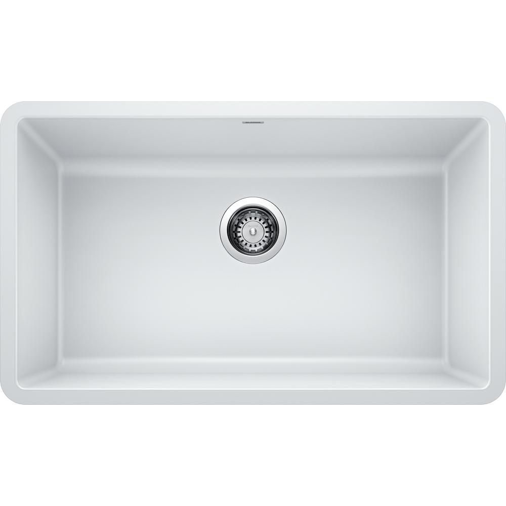 PRECIS Undermount Granite Composite 30 in. Single Bowl Kitchen Sink in White