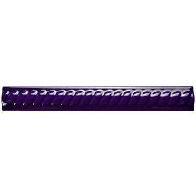 Trenza Cobalto Moldura 1 in. x 7-7/8 in. Ceramic Rope Pencil Wall Trim Tile