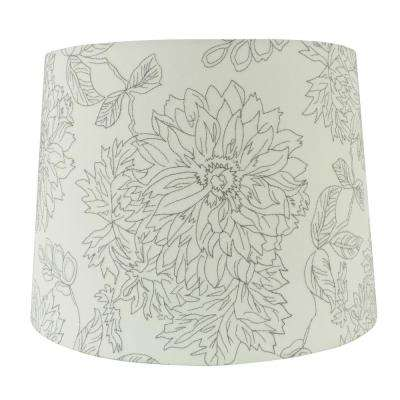 15 in. W x 11 in. H White Embroidered Hardback Empire Lamp Shade