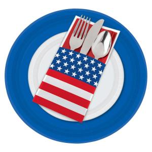 Amscan 7.50 inch x 3.75 inch Patriotic Cutlery Holders (12-Count, 5-Pack) by Amscan