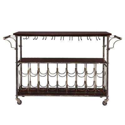 Randall Brass Wood Bar Cart with Storage