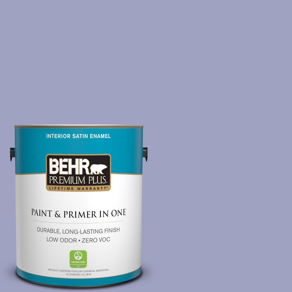 BEHR Premium Plus 1-gal. #630D-4 Ruffled Iris Zero VOC Satin Enamel Interior Paint