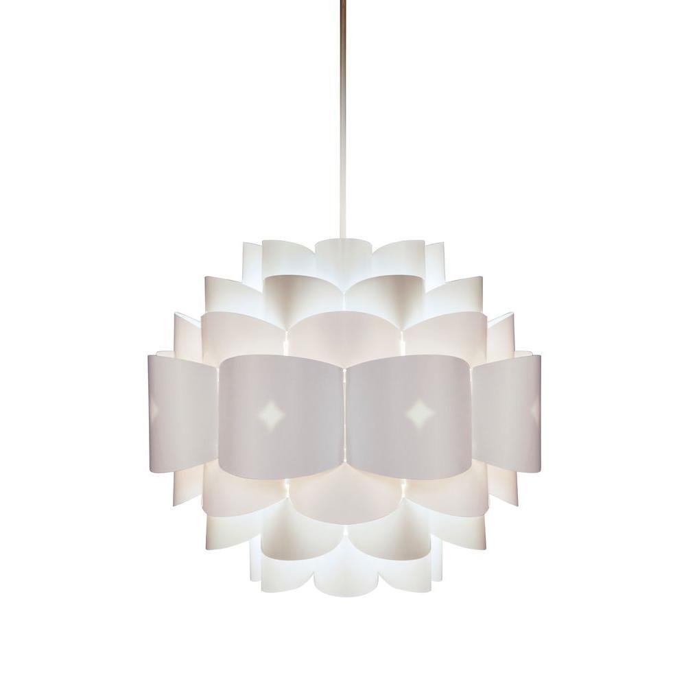 Diamond 1-Light White Pendant