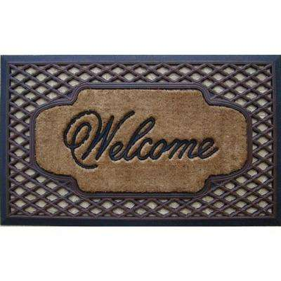 A1HC First Impression Brush Welcome 23 in. x 38 in. Rubber and Coir Door Mat