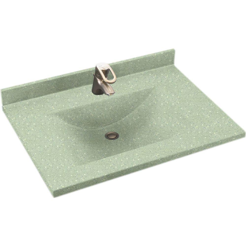 Swanstone Contour 37 in. Solid Surface Vanity Top with Basin in Seafoam-DISCONTINUED