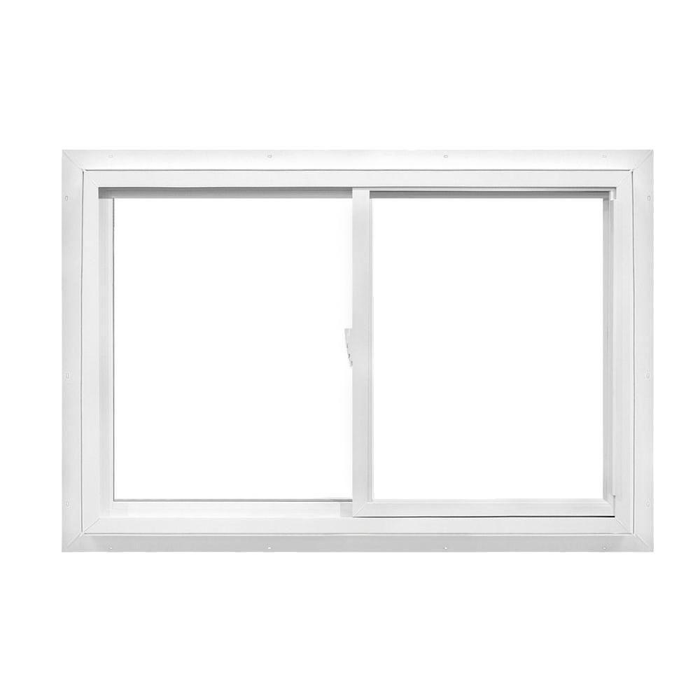 American Craftsman 36 in. x 35 in. 50 Series Right-Handed Sliding White Vinyl Window with Nailing Flange, Reversible