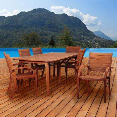 Ivy 7-Piece Eucalyptus Rectangular Patio Dining Set