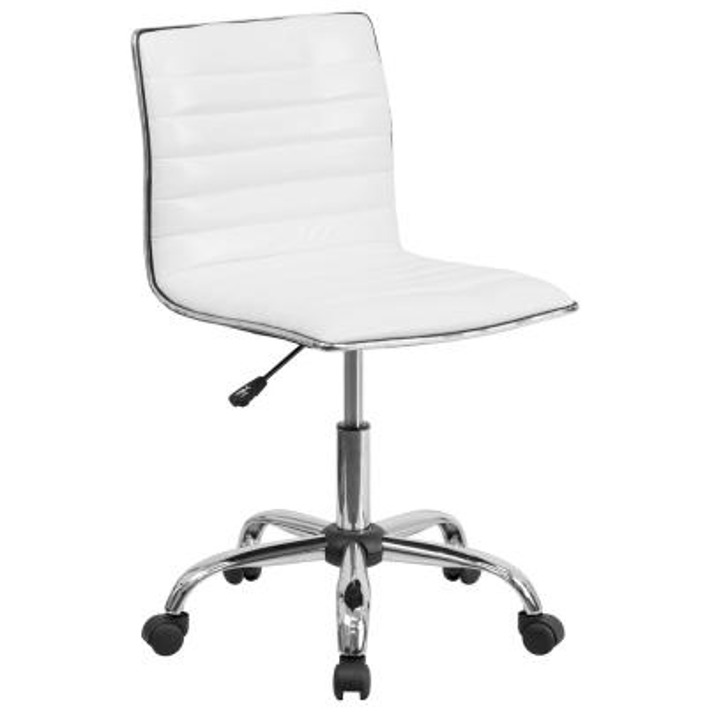 Low Back Armless White Ribbed Designer Swivel Task Chair