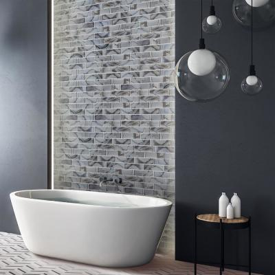 Geode Brick Gray 11.625 in. x 11.25 in. Interlocking Glossy Glass Mosaic Tile (0.908 sq. ft./Each)