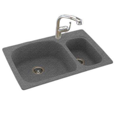 Drop-In/Undermount Solid Surface 33 in. 1-Hole 70/30 Double Bowl Kitchen Sink in Night Sky