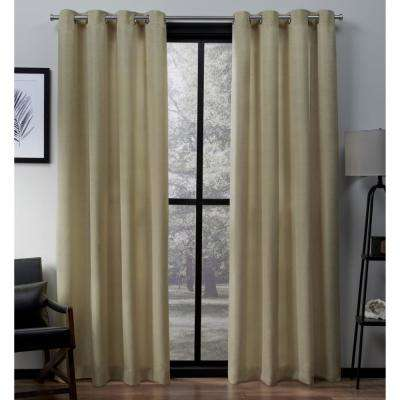 Virenze 54 in. W x 96 in. L Faux Silk Grommet Top Curtain Panel in Mello Yellow (2 Panels)