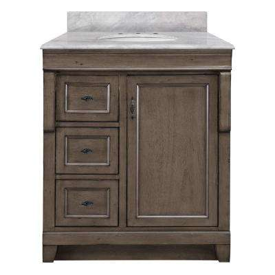 Naples 31 in. W x 22 in. D Bath Vanity in Distressed Grey with Left Drawers and Marble Vanity Top in Carrara White