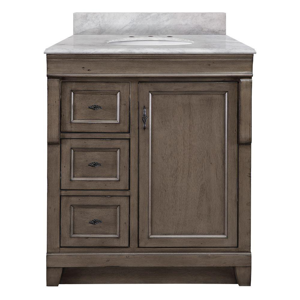 Home Decorators Collection Naples 31 in. W x 22 in. D Bath Vanity in Distressed Grey with Left Drawers and Marble Vanity Top in Carrara White