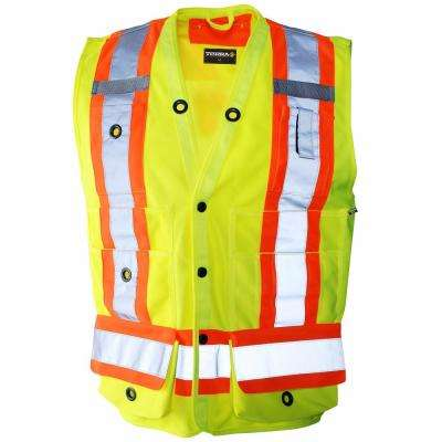 Men's Medium Yellow High-Visibility Reflective Safety Surveyor's Vest