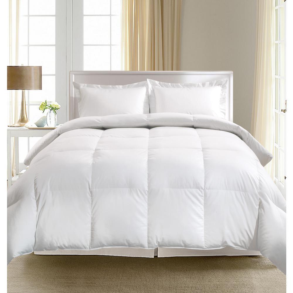 European White Goose Down King Comforter