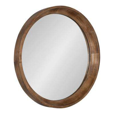 Colfax 22 in. x 22 in. Rustic Round Natural Wood Framed Wall Mirror
