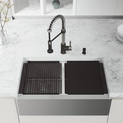 Oxford Stainless Steel 33 in. Double Bowl Flat Farmhouse Apron-Front Workstation Kitchen Sink with Accessories