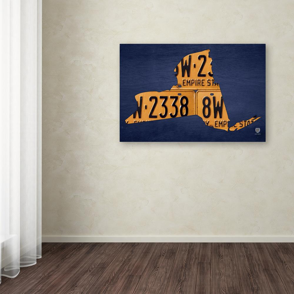 Trademark Fine Art 30 In X 47 In New York License Plate Map By