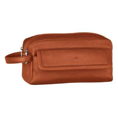 10 in. Cognac Double Compartment Toiletry Kit