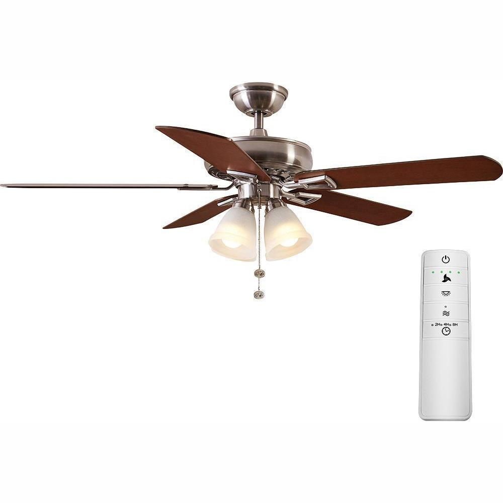 Hampton Bay Lyndhurst 52 in. LED Brushed Nickel Smart Ceiling Fan with Light Kit and WINK Remote Control